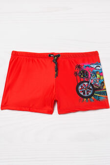 Stretch swim boxer shorts by Maui and Sons, Red, hi-res