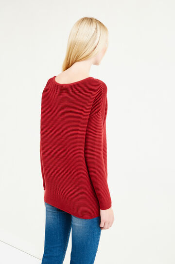 Cotton striped weave pullover, Red, hi-res
