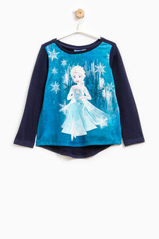 T-shirt with Frozen print and diamantés, Navy Blue, hi-res