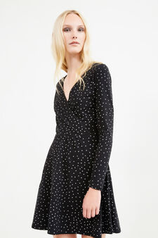 Stretch cotton dress with all-over print, Black, hi-res