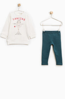 Stretch cotton tracksuit with print, White/Green, hi-res