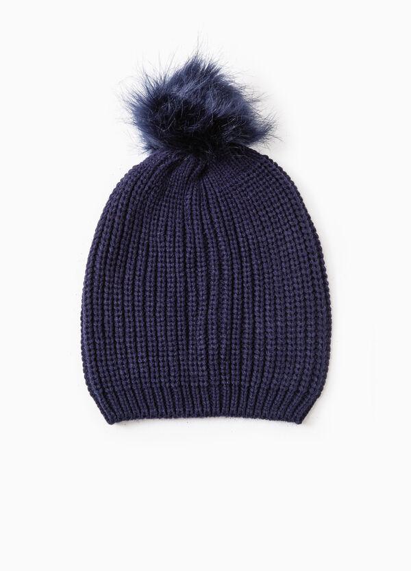 Beanie cap with fur pompom | OVS
