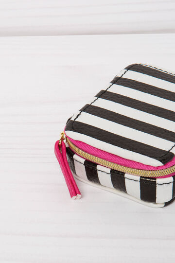 Eight-compartment pillbox with striped pattern, White, hi-res
