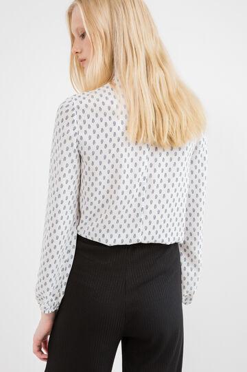 Blusa pura viscosa stampata, Bianco, hi-res