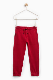 Joggers with elasticated waist and ankle cuffs, Claret Red, hi-res
