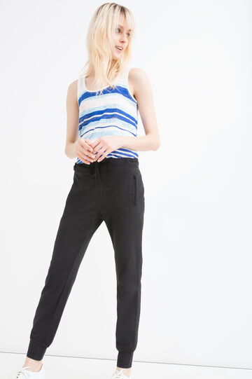 Pantaloni cotone stretch coulisse, Nero, hi-res