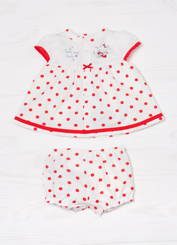 Outfit comprising polka dot dress and shorts | OVS