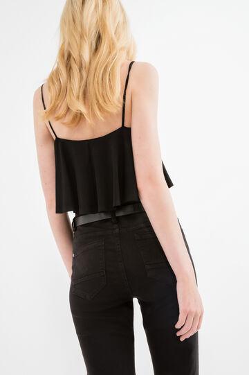 Stretch bodysuit with overlap, Black, hi-res