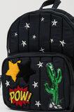Backpack with star-shaped stud design., Black, hi-res