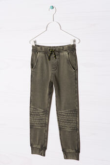 Solid colour 100% cotton joggers, Army Green, hi-res