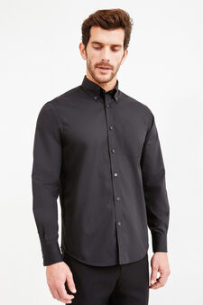 Cotton formal shirt with regular fit, Black, hi-res