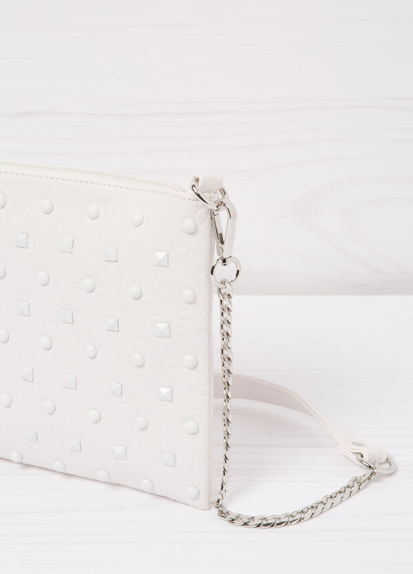 Leather look clutch with studs | OVS