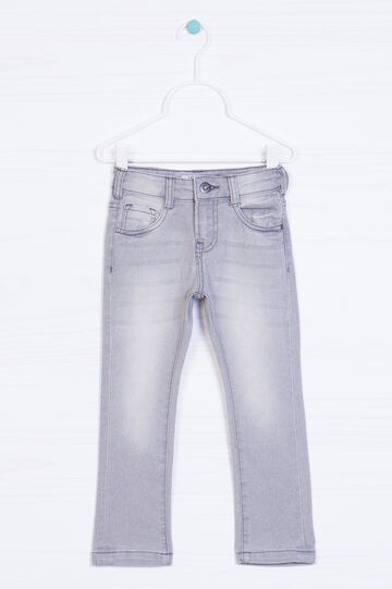 Worn-effect stretch jeans, Light Grey, hi-res