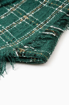 Check scarf with fringed trim., Green, hi-res