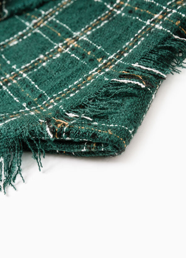Check scarf with fringed trim. | OVS