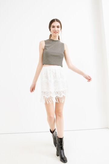 High waist openwork skirt, White, hi-res