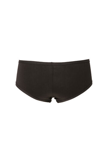 Stretch cotton French knickers, Black, hi-res
