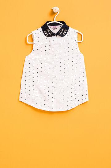 Sleeveless polka dot shirt with diamantés, White/Blue, hi-res