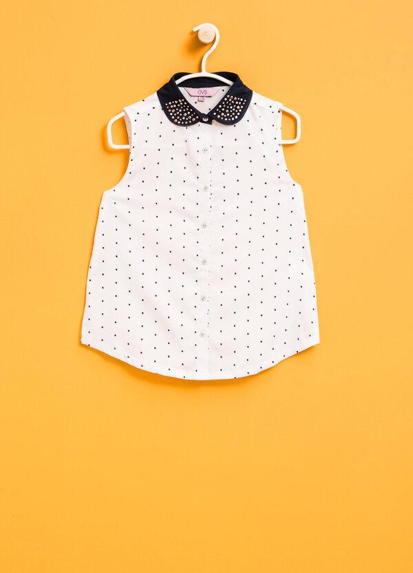 Sleeveless polka dot shirt with diamantés | OVS