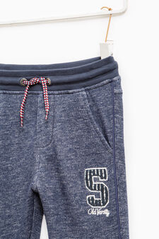 Cotton joggers with patches and embroidery, Blue, hi-res