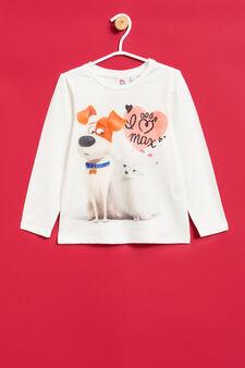 T-shirt with Pets print and diamantés, Milky White, hi-res