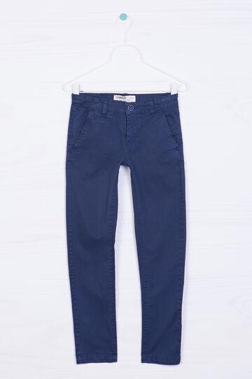Pantaloni cotone stretch tinta unita, Blu navy, hi-res