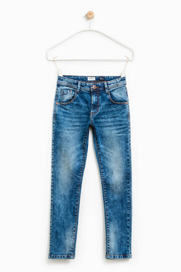 Worn-effect skinny-fit stretch jeans, Blue, hi-res
