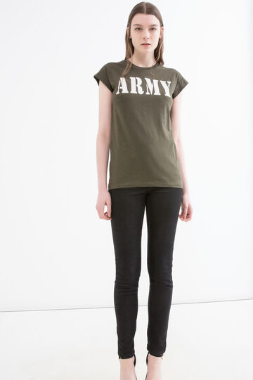 Cotton T-shirt with printed lettering, Army Green, hi-res