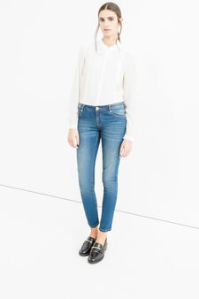 Mis-dyed, stretch skinny-fit jeans, Dark Blue, hi-res