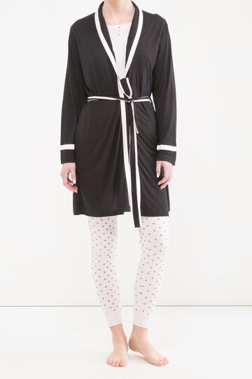 100% viscose robe with ties, Black, hi-res