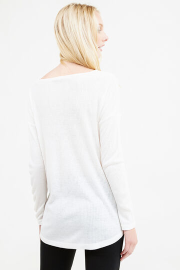 Ribbed T-shirt with slits, Milky White, hi-res