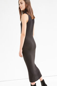 Long ribbed dress in stretch viscose, Black, hi-res