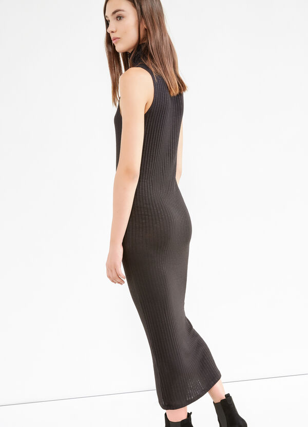 Long ribbed dress in stretch viscose | OVS