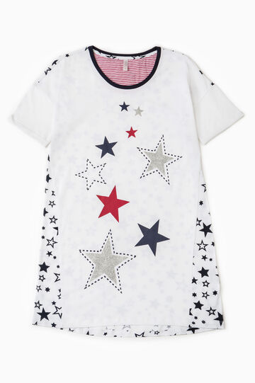 Nightshirt with star pattern, White, hi-res