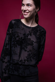 Blusa stampa fiori con fondo elasticato, Nero, hi-res