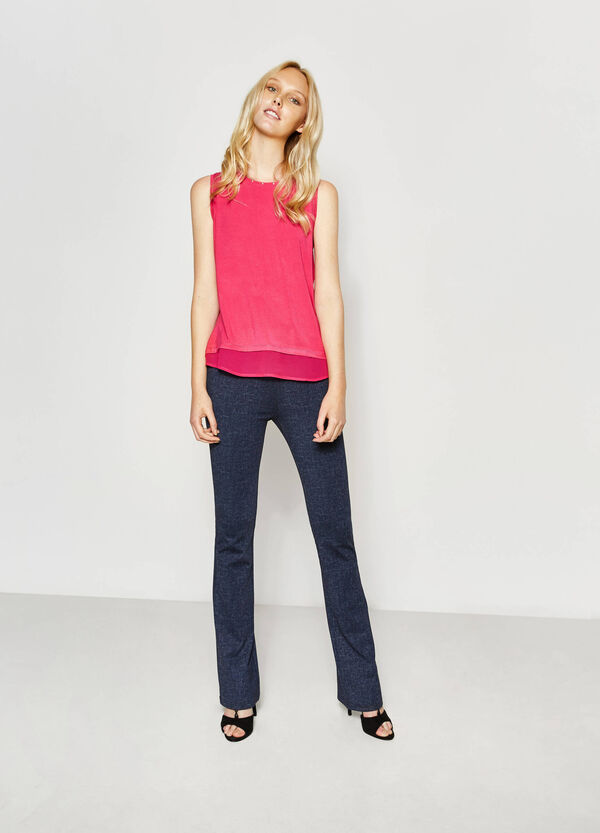 Top with studs and faux layer | OVS