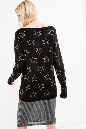 Pullover tricot fantasia stelle glitterate, Nero, hi-res