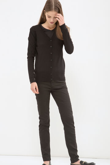 Solid colour cotton blend cardigan, Black, hi-res