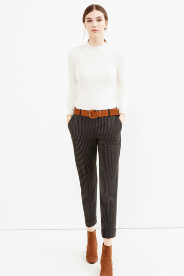 Stretch cropped chalk-stripe trousers, White/Black, hi-res