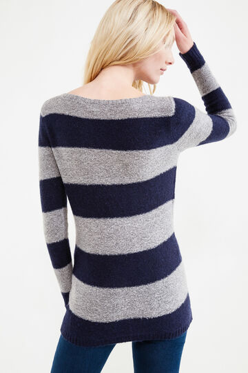 Pullover in stretch mohair blend with striped pattern, Grey/Blue, hi-res