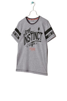 Printed T-shirt with contrasting stitching, Grey Marl, hi-res