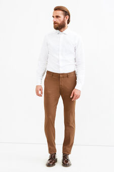 Rumford micro patterned trousers, Brown, hi-res