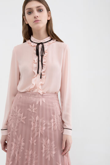 Blouse with ties in contrasting colour., Powder Pink, hi-res