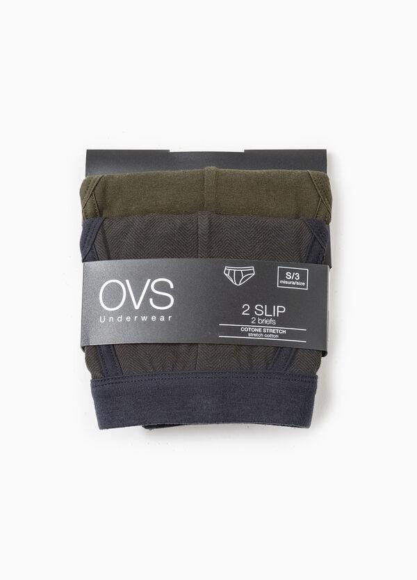 Set due slip stretch unito e rigato | OVS