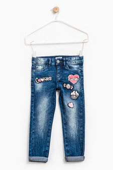 Stretch jeans with patches and sequins, Denim, hi-res