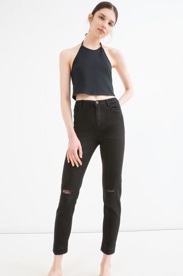 Stretch cotton trousers with rips, Black, hi-res