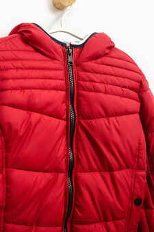 Bomber jacket with hood and zip, Red, hi-res