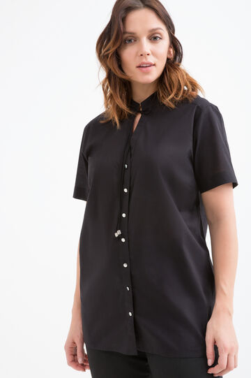 Curvy solid colour 100% cotton blouse, Black, hi-res