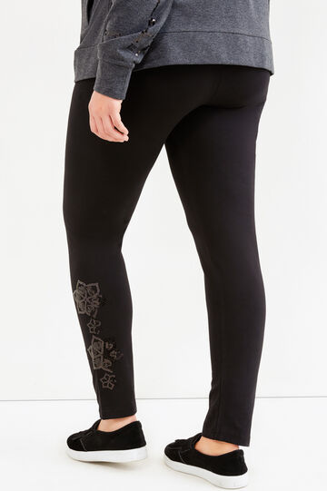 Curvy stretch leggings with sequins, Black, hi-res