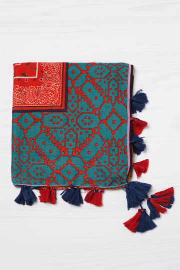 Printed scarf with tassels, Multicolour, hi-res